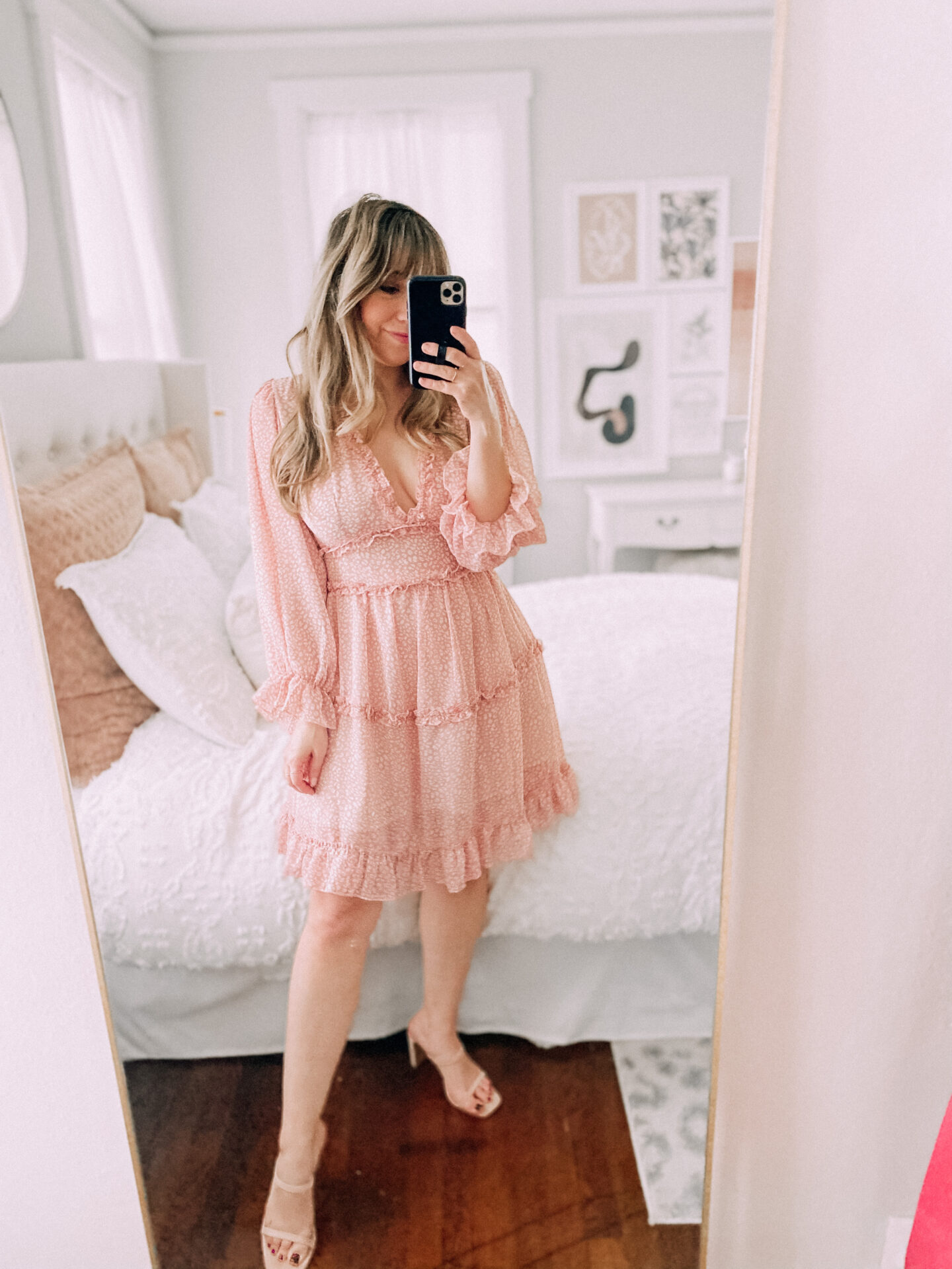 Amazon Valentine's Day Outfits - pink ruffled dress