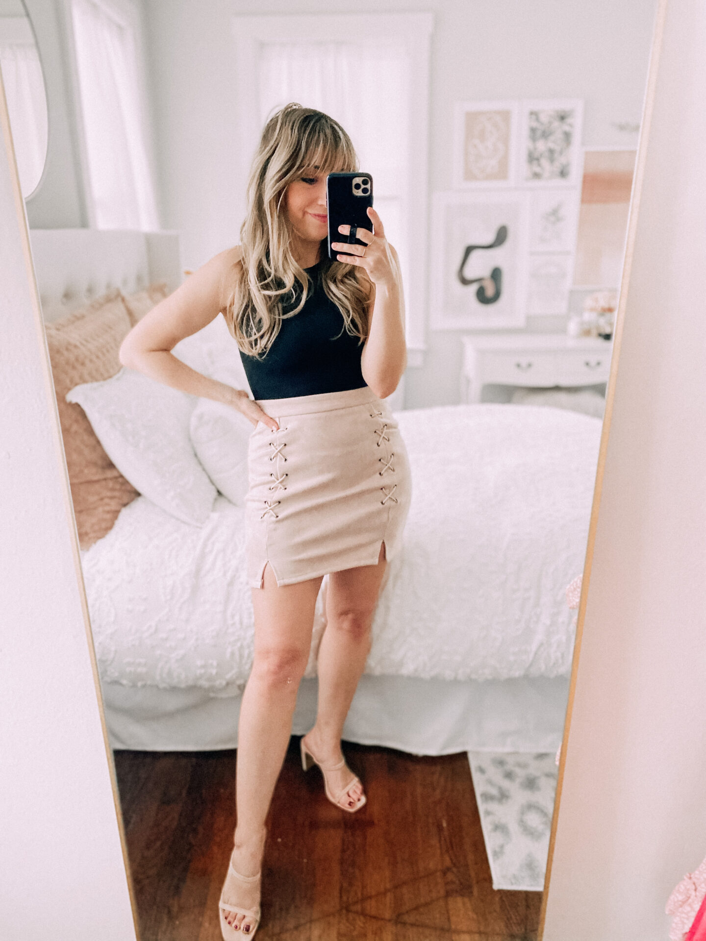Amazon bodysuit and suede mini skirt outfit