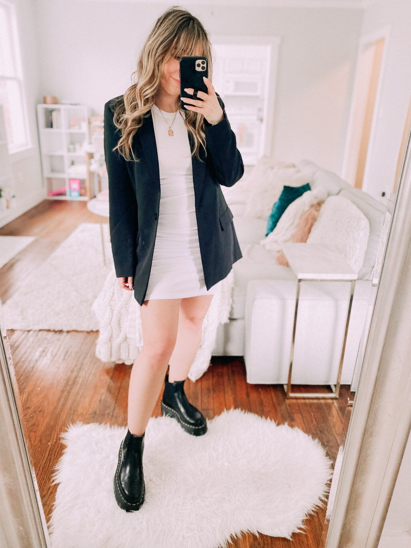 tank dress, oversized blazer and doc martens