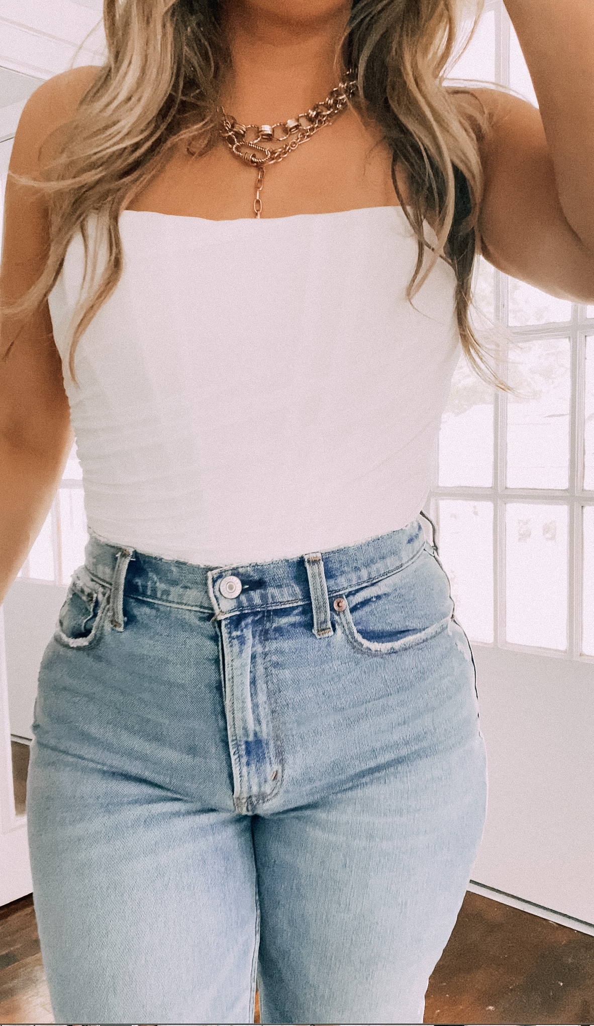 Amazon corset and jeans date night outfit
