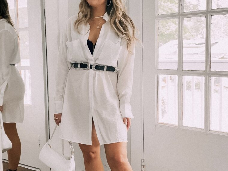 White Shirtdress Outfit for Summer