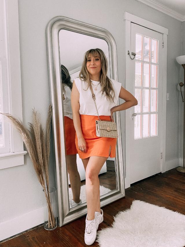 6 trendy orange skirt outfits for summer
